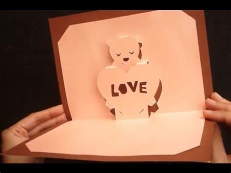 pattern pop up love teddy bear valentine s love pop up card tutorial youtube