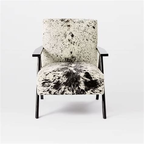 west elm chair with ottoman retro cowhide chair black white west elm