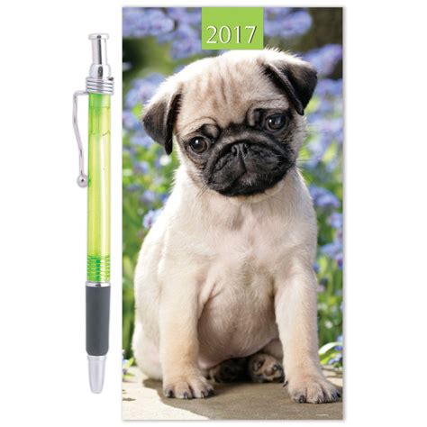 slim pug slim diary pen 2017 pug stationery diaries b m