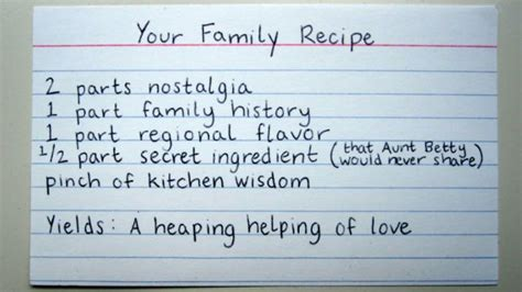 the heirloom family recipe index put one in every welcome