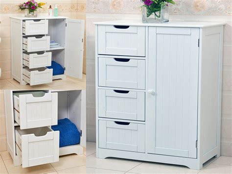 Bathroom Drawers Storage New White Wooden Cabinet With 4 Drawers Cupboard Storage Bathroom Or Bedroom Ebay