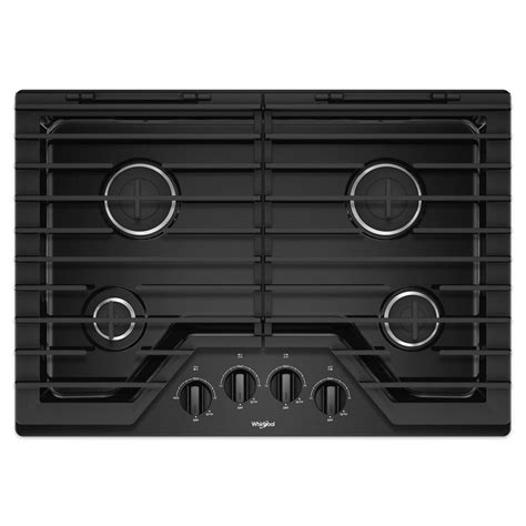 black gas cooktops whirlpool 30 in gas cooktop in black with 4 burners and
