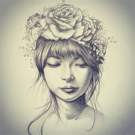 flower headband hairstyles tumblr hipster tumblr girl with flower crown drawing google