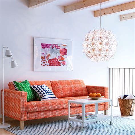 ikea ps 2012 sofa karlstad three seat sofa with husie orange cover and ikea