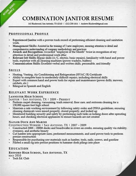Janitor Resume custodian resume it resume cover letter sle custodian