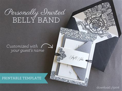 Wedding Invitation Templates Wedding Invitation Belly Band Wedding Invitations Wedding Invitation Band Template