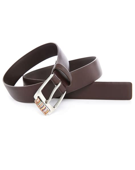 paul smith brown stripes buckle leather belt in brown for
