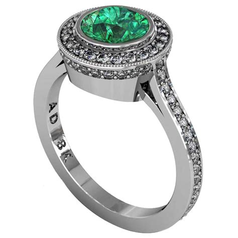 emerald modern pave halo ring