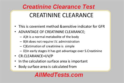 creatinine clearance creatinine clearance test principle procedure results
