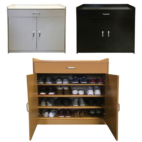 White Shoe Storage Cabinet Redstone Shoe Storage Cabinet Rack Black White Beech 4 Shelves Wooden Sideboard Ebay