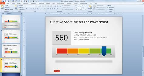 free creative score meter template for powerpoint free