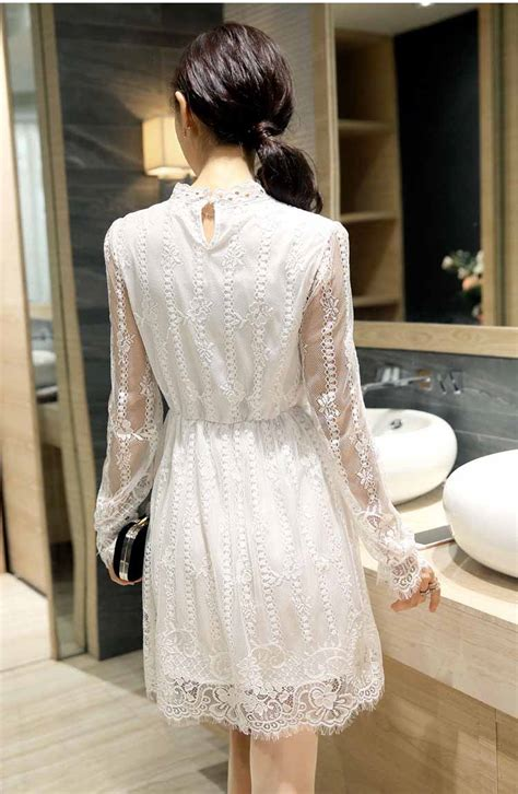 Bextjb Dress Putih Dress Lace Dress Brukat Dress Cheongsam Dress Pesta dress putih brokat motif cantik myrosefashion