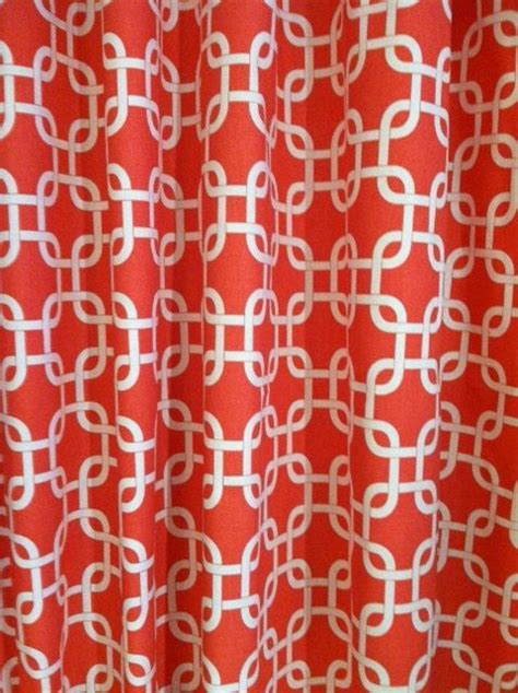 white and coral curtains two zigzag curtain 24 quot wide x up to 96 quot long each coral