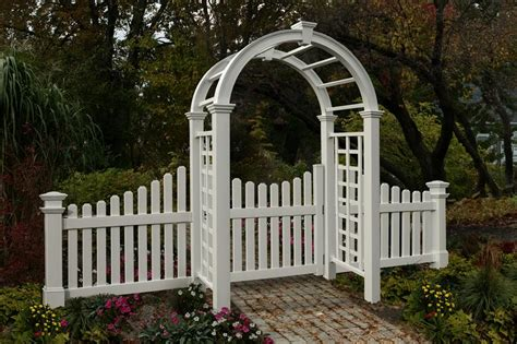 Garden Arbor With Gate White New Arbors Decorative Nantucket Deluxe Garden