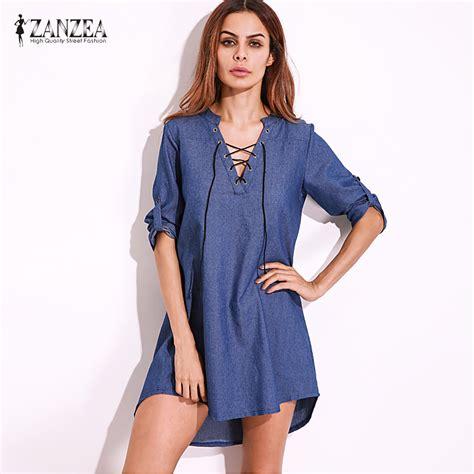 Blouse 3colour Blue Vv 3 colors zanzea 2017 v lace up denim blue asymmetrical shirt dress mini dress