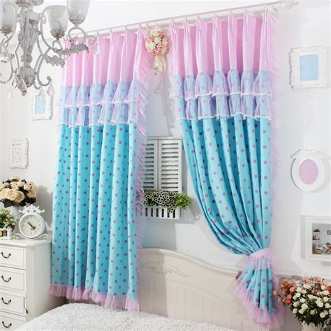 curtain for girl room princes blue base polka dot ruffle curtain window