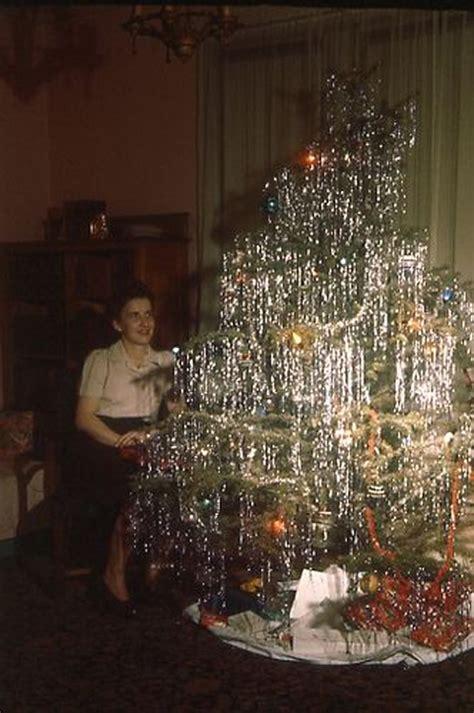 vintage tinsel tree mid century enjoying real trees