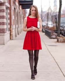 holiday red dress dot print tights silver
