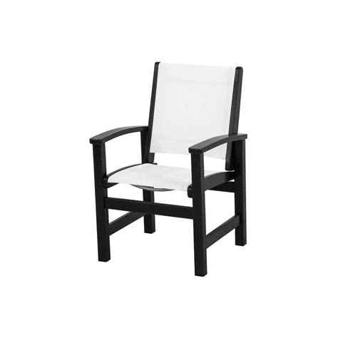 White Outdoor Dining Chair Polywood Coastal Black All Weather Plastic Sling Outdoor Dining Chair In White 9010 Bl901 The