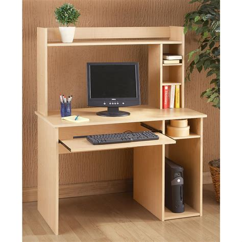 maple finish computer desk with hutch 140108 office
