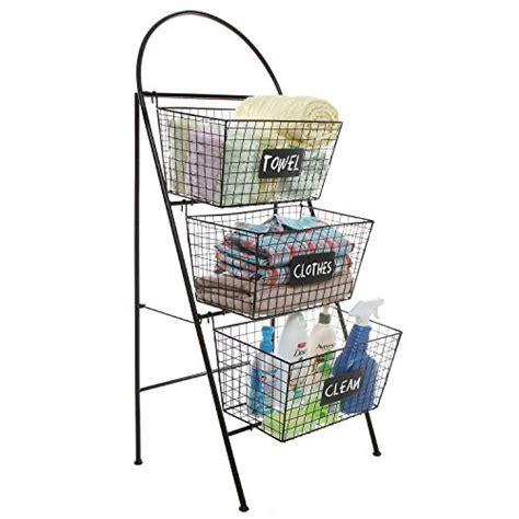 3 tier modern black metal wire mesh basket floor rack