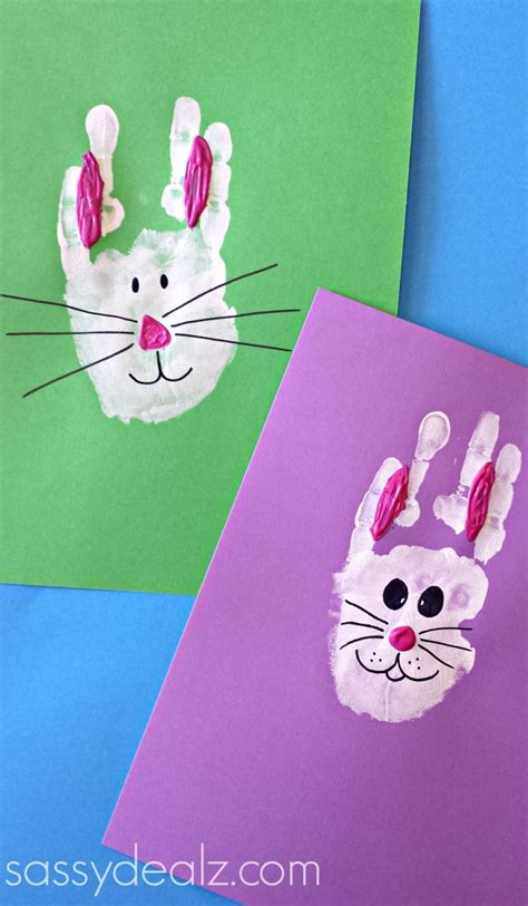 easter bunny crafts for bunny rabbit handprint craft for easter idea