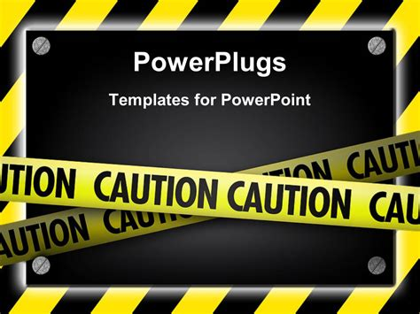 Powerpoint Template Silver Screws Glowing Over Yellow Striped Hazard 27585 Free Safety Powerpoint Templates
