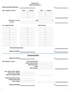 bank templates 9 bank reconciliation worksheet plantemplate info
