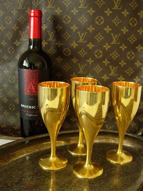 rare vintage gucci gold metal wine glasses barware set gg