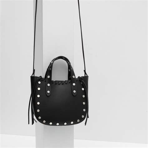 Zara Hobo Black zara mini leather tote with studs in black lyst
