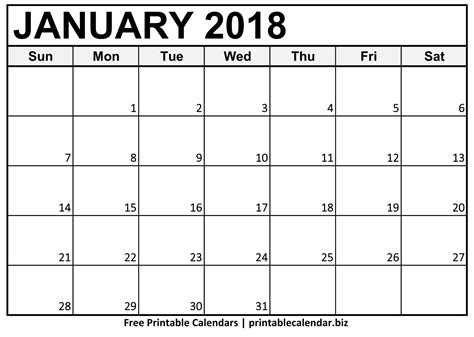 printable calendar for january 2018 2018 printable calendar templates printablecalendar biz