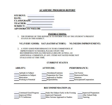academic progress report template word sle student progress report 17 documents in pdf word