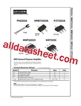 datasheet of transistor 2222a pn2222a datasheet pdf fairchild semiconductor