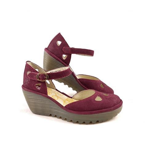closed sandals fly yuna closed toe wedge sandals in magenta