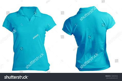womens blank blue polo shirt front stock photo 168454544