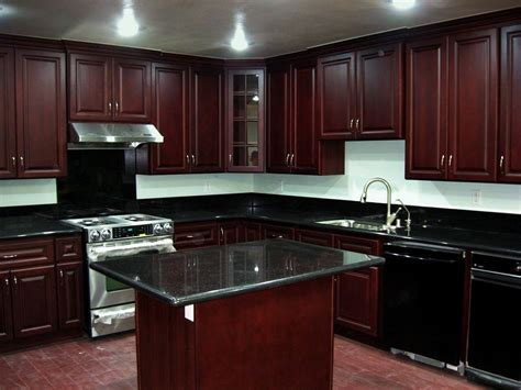 Cherry Wood Kitchen Cabinets With Black Granite Cherry Kitchen Cabinets Beech Wood Cherry Color Superior Uv Baked Finish Dovetail Solid