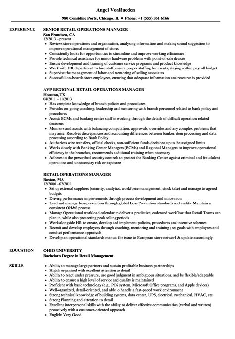 resume format for retail operation manager retail operations manager resume sles velvet
