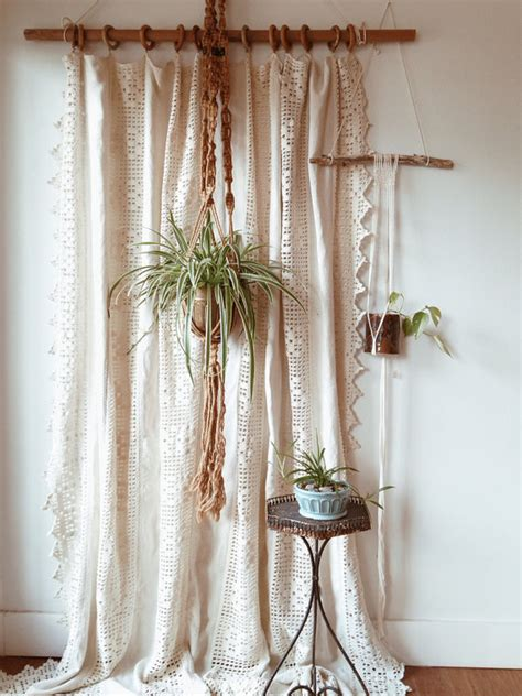 crochet curtain panels vintage homespun linen and cotton crochet window panel