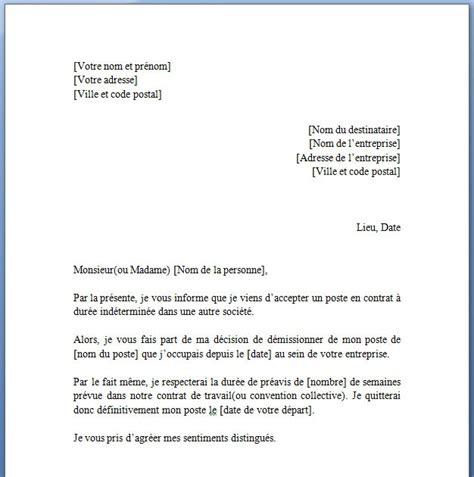 Exemple De Lettre De Démission Cdd Simple Exemple De Lettre De Demission Pour Mutation Du Conjoint Covering Letter Exle