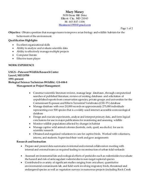 biologist sle resumes