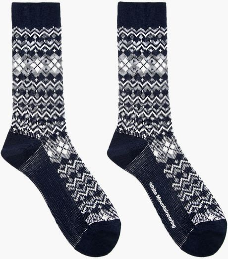 navy patterned socks white mountaineering white and navy argyle and chevron