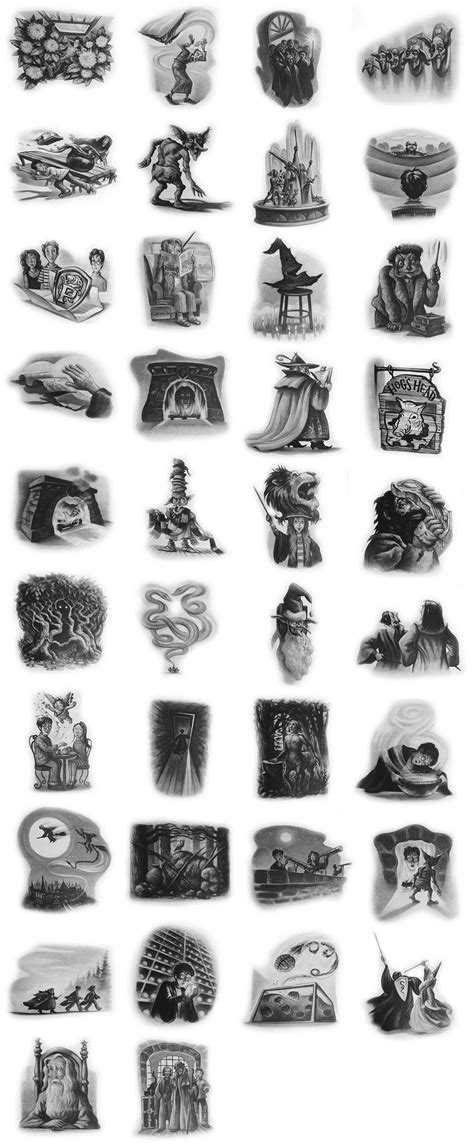 Every chapter illustration from the 'Harry Potter' books