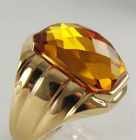 Orange Sapphire 5 35ct mens antique vintage esate ring orange sapphire 10k yellow
