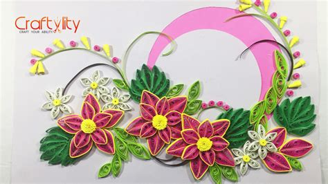 Paper Flowers For Cards - how to make paper quilling pink flower card craftylity