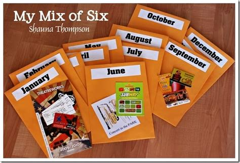 monthly date christmas presents diy gift of 12 planned and paid monthly date nights in envelopes for the year