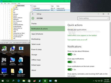 dropbox quick action button disable quick action buttons in action center of windows 10