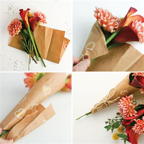 How To Make A Flower Out Of Wrapping Paper - spread some how to wrap a mini bouquet of