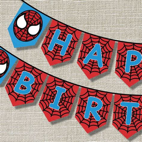 printable spiderman birthday banner spiderman happy birthday banner inspired pop by