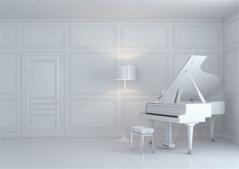 white room villa piano area design arch and curtain 3d house