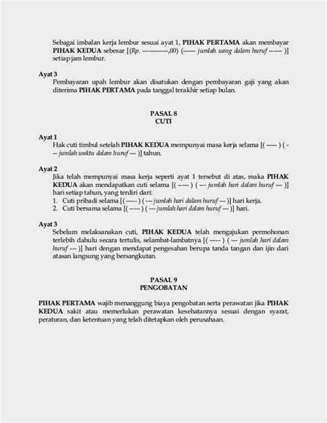contoh surat perjanjian kontrak kerja terbaru indonesia